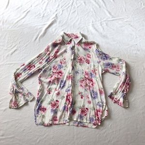 Floral buttoned down blouse peony print L white